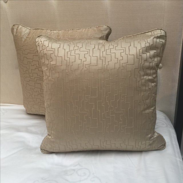 Image of Modern Geometric Satin Pillows- A Pair