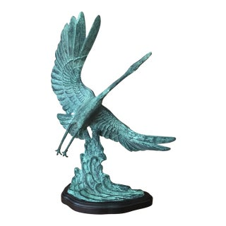 Great Blue Heron Bronze Statue