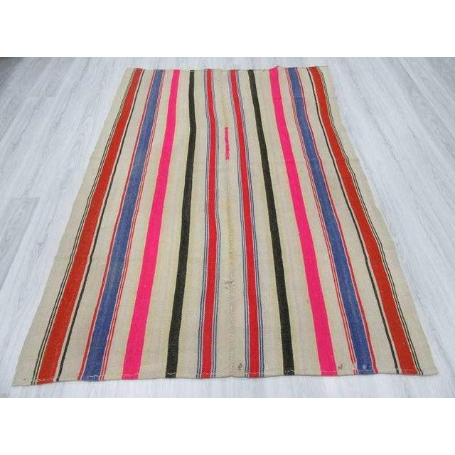 Vintage Colorful Striped Turkish Kilim Rug
