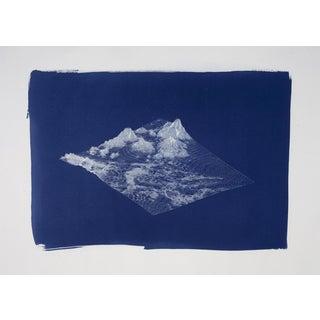 Digital Mountain Landscape Render, Large Cyanotype Print, 50x70 cm