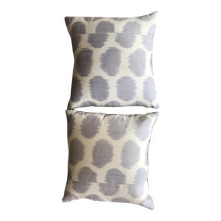 Blue Mu Ikat Pillows - A Pair