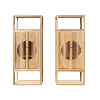 Chinese Light Natural Raw Wood Shutter Doors Bookcase Display Cabinets - a Pair