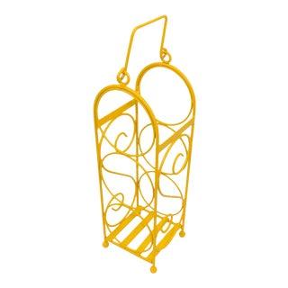 Vintage Yellow Wine Bottle Rack