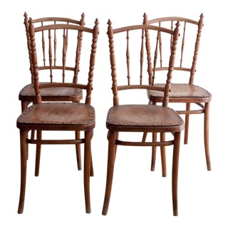 Turned Wood Dining Chairs- Set of 4