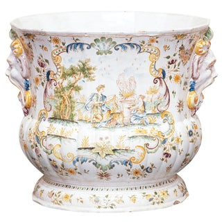 A Large Faience Jardiniere signed Moustiers