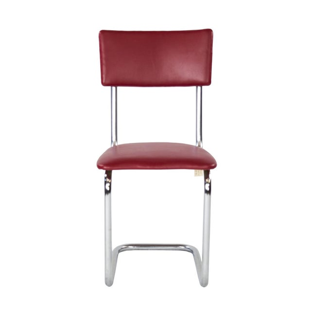 Image of Vintage 1950s Single Red & Chrome Side Chair