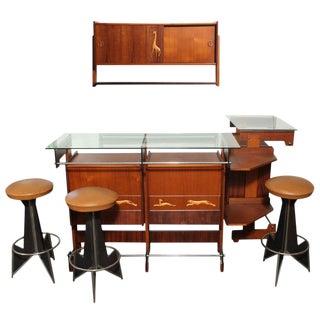 Melchiorre Bega Italian 1950's Liquor Cabinets & 3 Stools