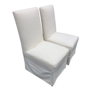 Restoration Hardware Muslin Covered Dining Chairs - a Pair