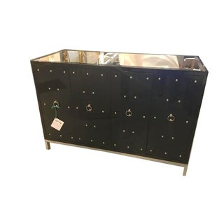 Parzinger Style Black Studded & Mirrored Cabinet