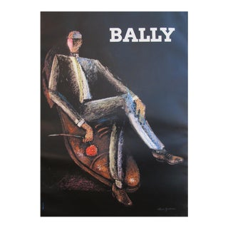 1970s Vintage French Mens Fashion Poster, Bally Shoes