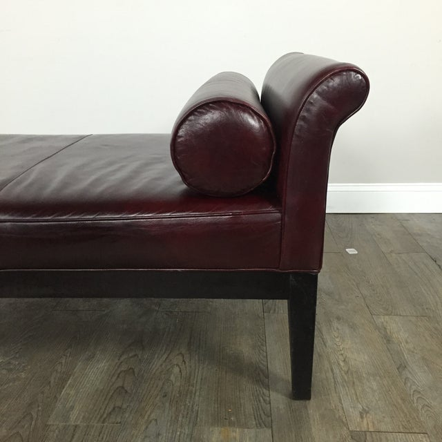 Crate & Barrel Leather Chaise Lounge - Image 4 of 9