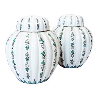 Vintage Green and White Ginger Jars - A Pair