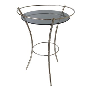 Vintage Nickel Bamboo-Style Side Table