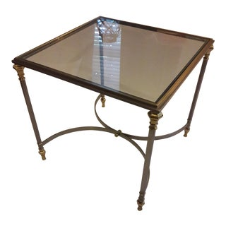 Vintage Ethan Allen Steel Brass & Glass End Table