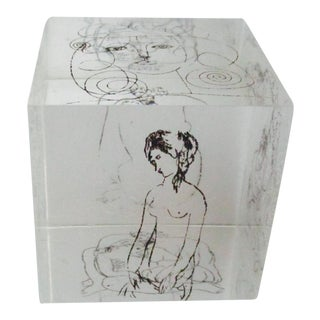 Picasso Drawings Lucite Cube Paperweight