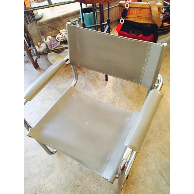 Italian Smoky Grey Leather Sling Chrome Chair - Image 6 of 10