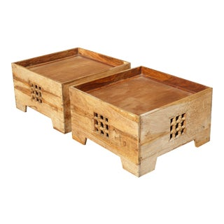 Teak Asian Style Boxes Coffee Table End Tables - A Pair