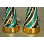 Image of Mid-Century Gilt Ceramic Striped Lamps - A Pair