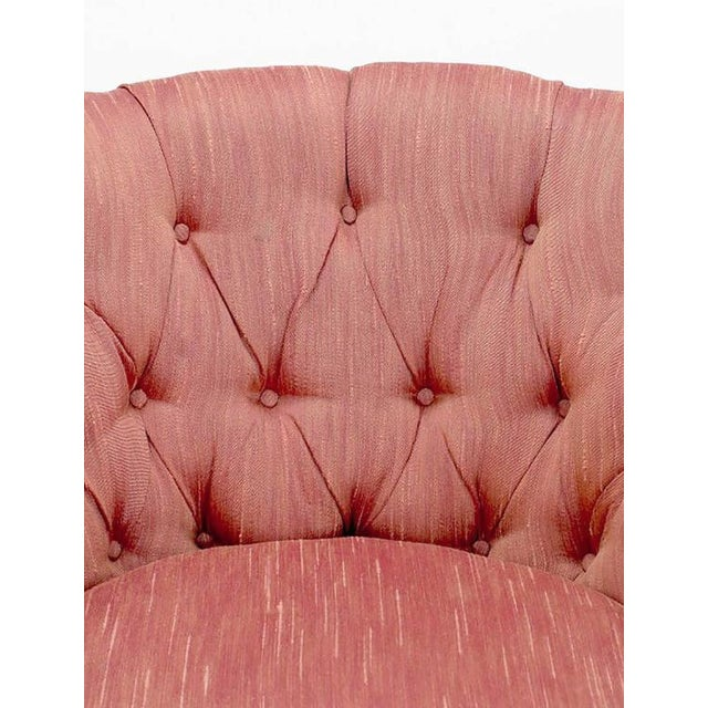 Winsor White & William Millington for Baker Button-Tufted Silk & Walnut Club Cha - Image 9 of 9