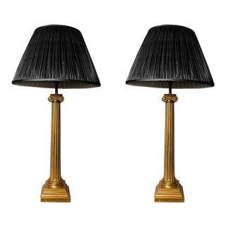 Pair of Ionic Brass Column Lamps, Ex-US Embassy, Grosvenor Square London