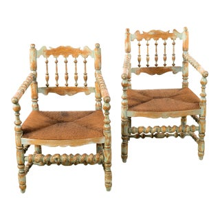 19th Century Antique Farm Arm Chairs W/Carved Spindles -A Pair