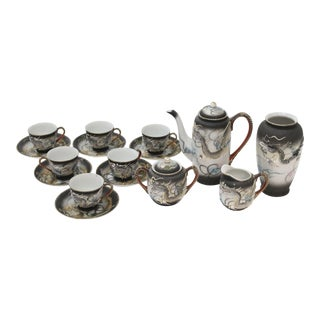 Asian Moriage Dragonware Demitasse Tea Set - 16 Pieces