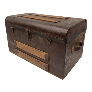 Antique Hand Crafted Metal & Wood Trunk