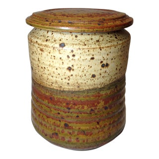 Vintage Handmade Speckled Pottery Container