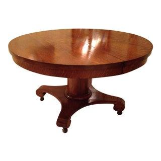 Antique Round Tiger Oak Pedestal Table