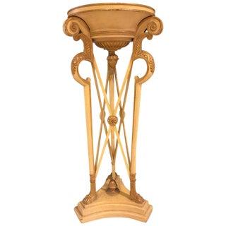 Hollywood Regency Style Carved Ivory & Gilt Pedestal