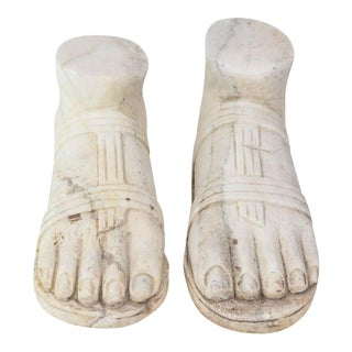 """Pair of Italian """"Grand Tour"""" Marble Reductions of a Model of a Foot"""