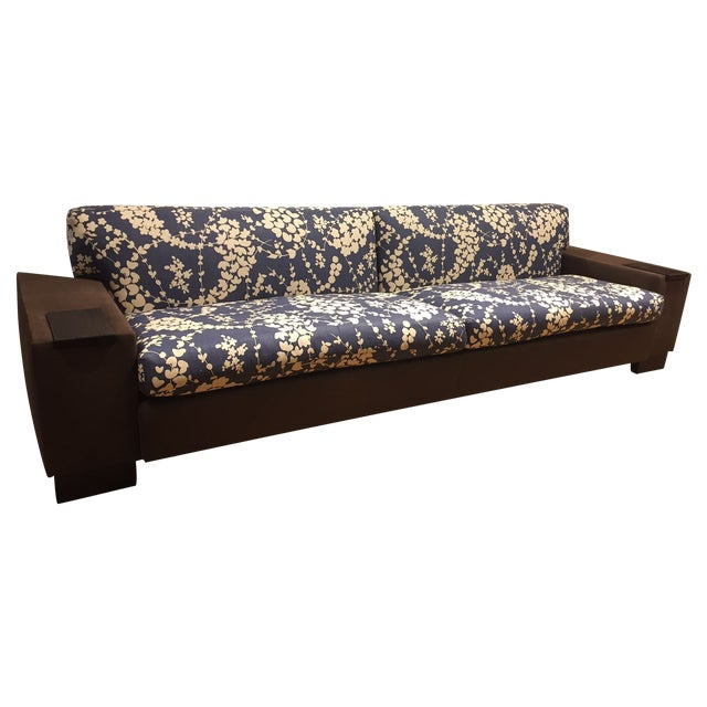 Quadrille Linen Upholstered Banquette Sofa - Image 1 of 10