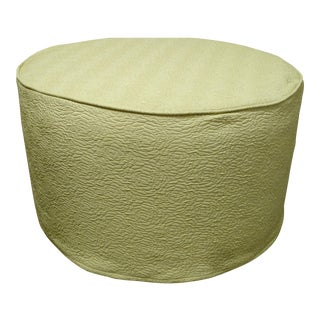 Custom Round Slipcovered Ottoman