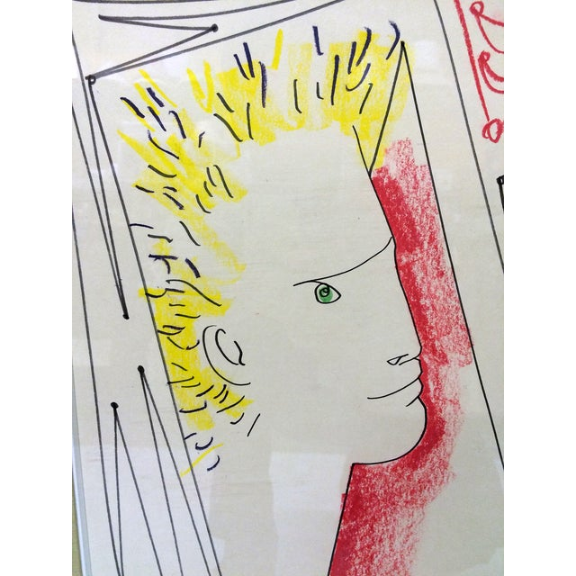 Image of 1959 Pastel Drawing by Jean Cocteau, Signed