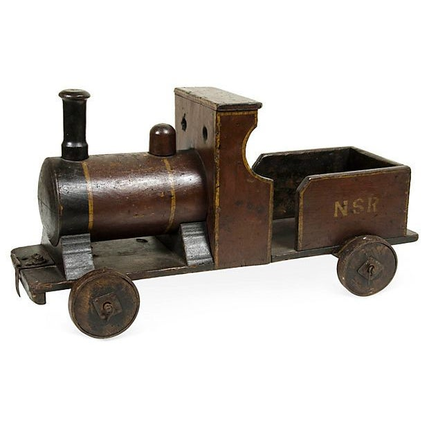 Image of Painted Wooden Toy Train Circa 1880