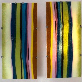 Pair of Murano Blown and Lit Wall Panels