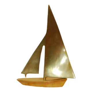 Vintage Heavy Brass Sailboat