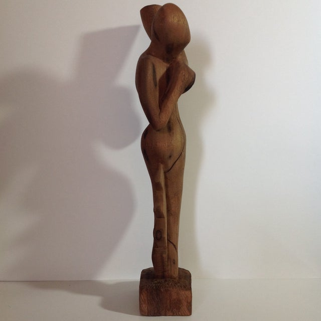 Image of Mid Century Modern Abstract Carved Wood Sculpture