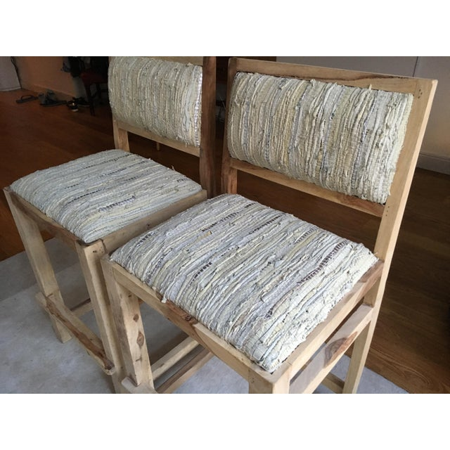 Calypso St. Barth Sandstone Woven Leather Stools - A Pair - Image 6 of 8