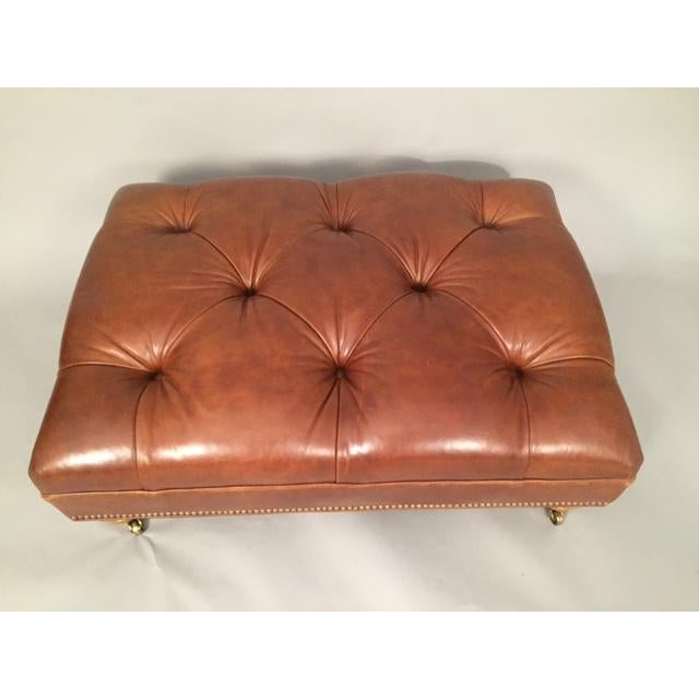 Ethan Allen Leather Tufted Ottoman Chairish