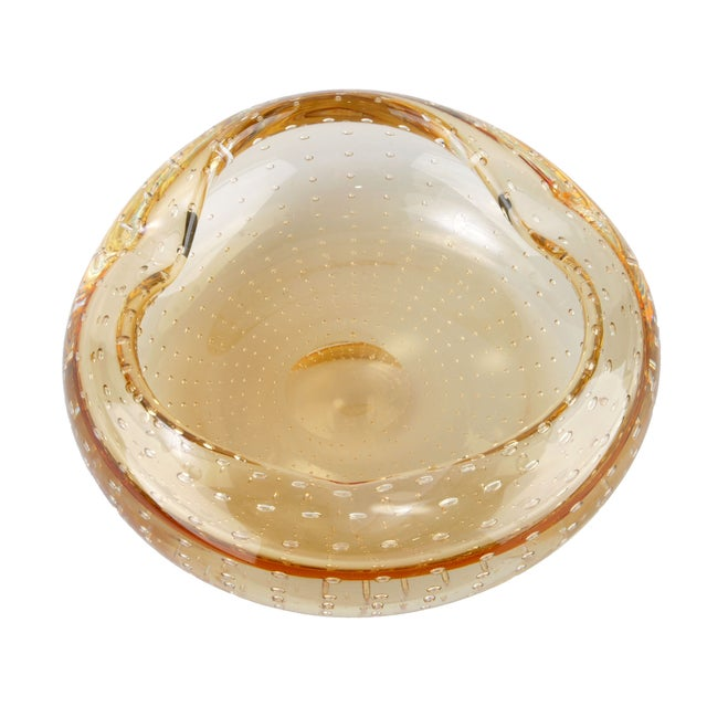 Image of Hand-Blown Amber Murano Bowl With Bubbles