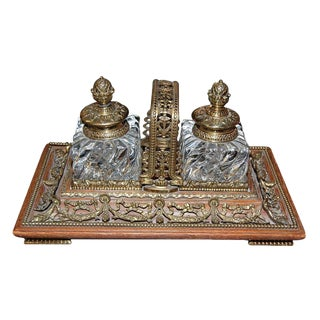 Bronze Mounted Antique Inkwell