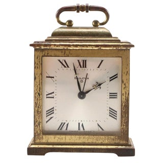 Vintage Bulova Brass 8 Day Alarm Clock