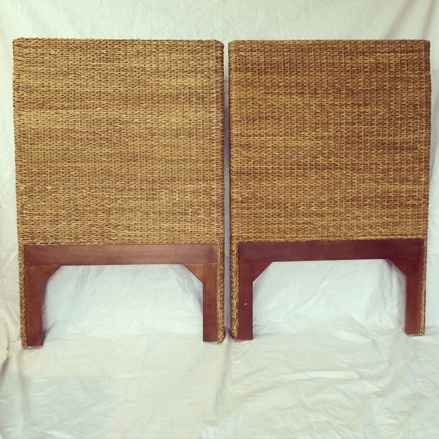 Woven Rattan and Teak Headboards - Pair - Image 2 of 9
