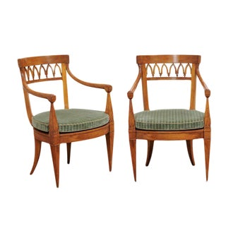 Pair of Austrian Biedermeier 1840s, Armchairs with Pierced Backs and Cane Seats