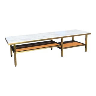 Marble Top Brass & Cane Coffee Table Attributed to Paul McCobb for Calvin Irwin Collection