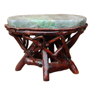 Crystal Jade Stone Top Bamboo Accent Stool