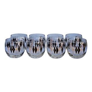 Black & Gold Atomic Drinking Glasses - Set of 8