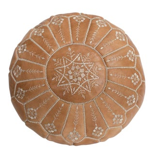 Embroidered Leather Pouf, Natural Desert Starburst Stitch