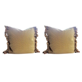 Fortuny Pillows in Cilindri Silver & Gold on Mustard - a Pair
